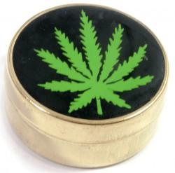 Табакерка бронзовая Конопляный лист