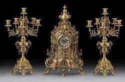 Набор Virtus. Часы настольные Gigante + пара канделябров Gigante Caras на 6 свечей