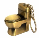 Зажигалка карманная унитаз золотая