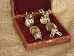 Чарки Охотничьи из бронзы 4 шт в кейсе