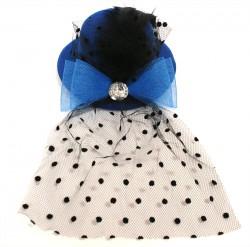 Шляпка гламур с большим бантом и вуалью синяя