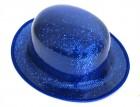 Шляпа Котелок пластик блестящая синяя