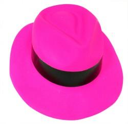 Шляпа мужская пластик с лентой розовая