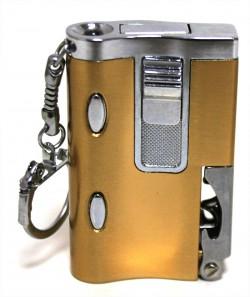 Зажигалка карманная золотая с фонариком и штопором