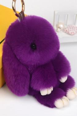 Пушистый кролик брелок rex fendi фиолетовый