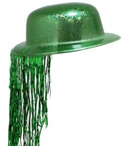 Шляпа Котелок Пластик с дождиком зеленая