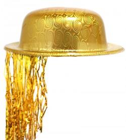 Шляпа Котелок Пластик с дождиком желтая