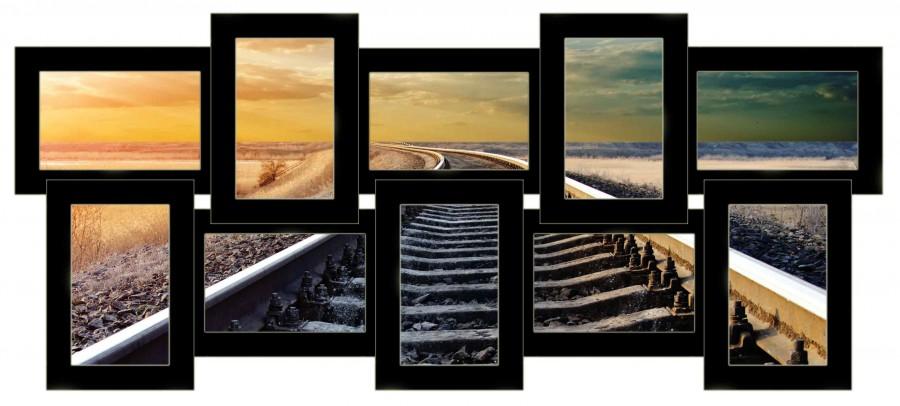 Деревянная мультирамка История на 10 фото черная
