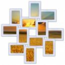 Деревянная мультирамка Зигзаг на 12 фото белая