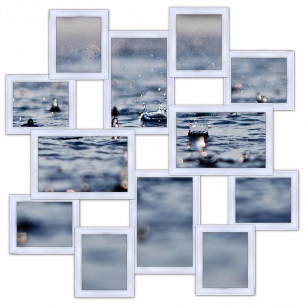 Деревянная мультирамка Путешествие Большое на 12 фото белая