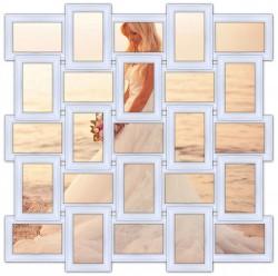 Деревянная мультирамка Классика на 25 фото белая