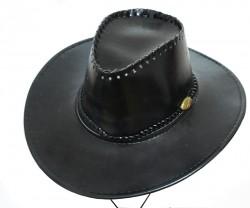 Шляпа Ковбоя лаковая черная