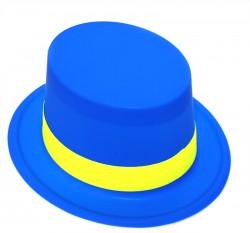 Шляпа Цилиндр пластик с лентой синяя