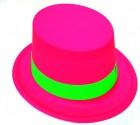 Шляпа Цилиндр пластик с лентой розовая