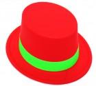 Шляпа Цилиндр пластик с лентой красная