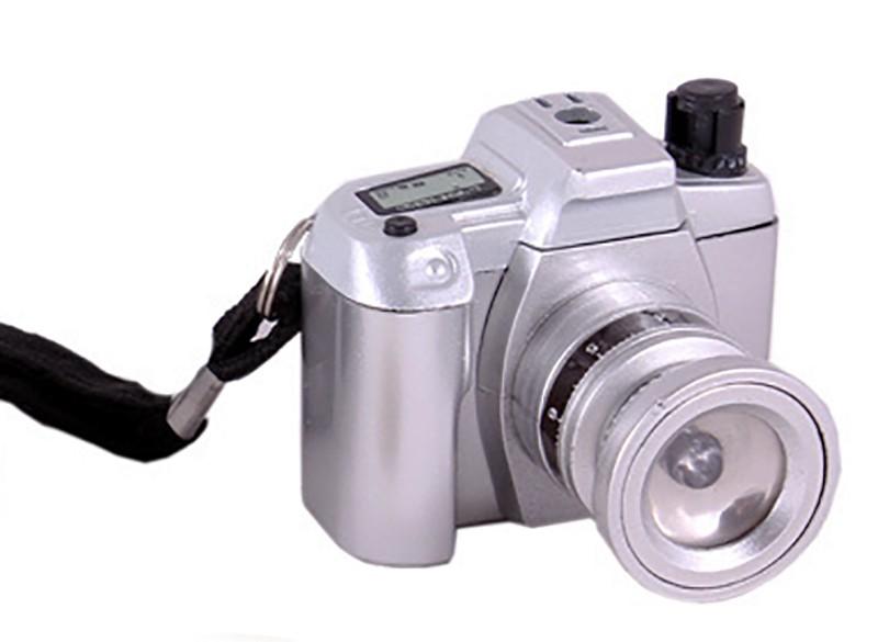 Зажигалка газовая Фотоаппарат с подсветкой серебряная