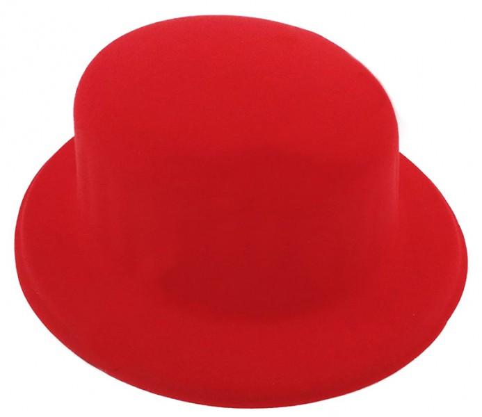 Шляпа Котелок Флок красный