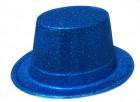Шляпа детская Цилиндр блестящая голубая