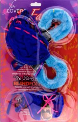 Наручники с бельем - подарочный набор синий