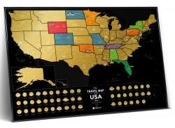 Скретч карта США Travel Map USA Black