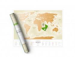 Скретч карта мира Travel Map Gold World на русском языке