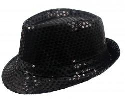 Шляпа Диско с паетками черная