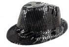 Шляпа Диско с паетками черно-серебрянная