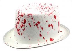 Шляпа Цилиндр кровавый белый