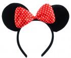 Уши Микки Мауса чёрные с красным бантом