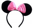Уши Микки Мауса чёрные с розовым бантом