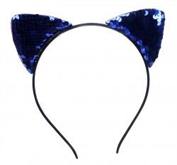 Ушки Кошка с паетками синие