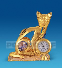"""Фигурка с часами """"Кошка на подушке"""" с цв.кр."""