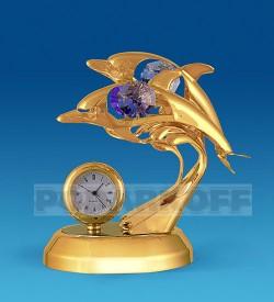 """Фигурка с часами """"Дельфины"""" с цв.кр."""