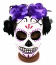 Маска череп гейши фиолетовая