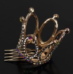 Заколка гребешок Корона золотая с кристалами