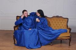 Плед с рукавами для двоих синий