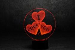 """Яркий светильник с эффектом трехмерного изображения """"I love you"""""""