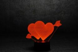 """Лампа на подарок для девушки """"Два сердца со стрелой"""""""