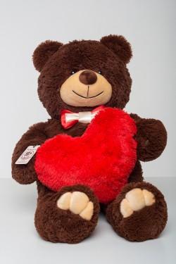 Мишка с сердцем 85 см - коричневый