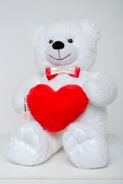 Мишка с сердцем 110 см - белый