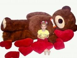Мишка с сердцем 2 м 50 см - коричневый