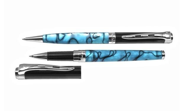 Комплект ручек (шариковая + роллер) Pierre Cardin, синий мрамор (PC0816BP/RP)