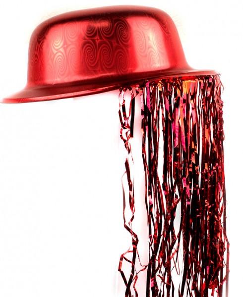 Шляпа Котелок Пластик с дождиком красная