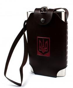 Фляга из нержавеющей стали в кожаном чехле Украина