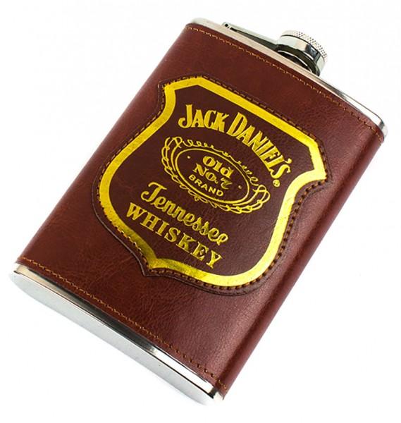 Фляга Jack Daniels в кожаном чехле