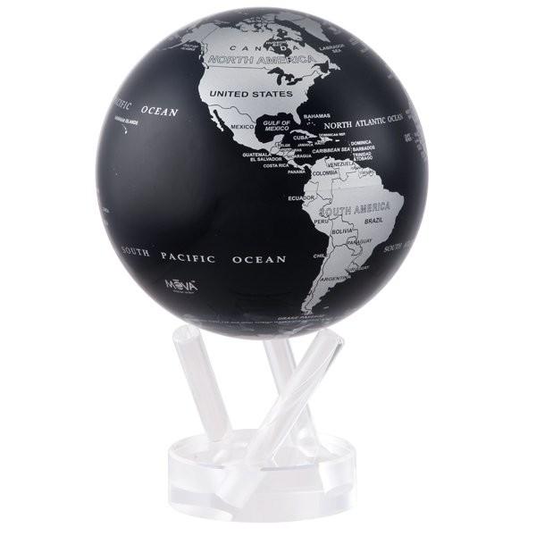 Глобус самоврощающийся Политическая карта, черный с серебром