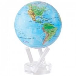 Глобус самоврощающийся Физическая карта Д=114, голубая