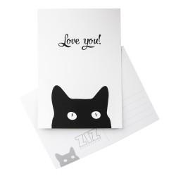 Открытка Черный кот