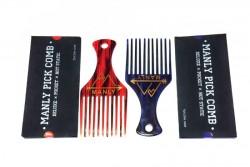 Пластиковая расческа для волос MANLY PICK COMB (афропик)