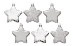 Елочные украшения Звезды House of Seasons комплект 6 шт, цвет серый